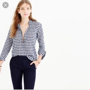 J. Crew Boy Fit Gray Gingham Top